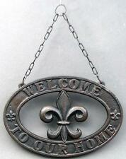 Hanging Welcome Sign Fleur de Lis Cast Iron French New Orleans FREE SHIPPING