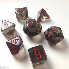 Chessex Dice Poly - Translucent Smoke with Red -Set Of 7- 23018 - Free Bag!