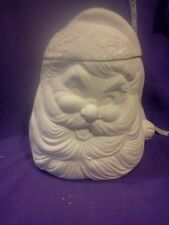 Ceramic bisque Santa Cookie Jar/Cannister glazed inside and ready to paint