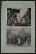 1916 WWI WW1 PRINT MR WINSTON CHURCHILL AT CHELMSFORD ~SOLDIERS AT POLLING BOOTH
