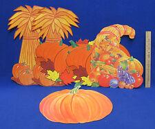 Halloween Fall Harvest Die Cut Paper Window Decorations Pumpkin Cornucopia Lot 6