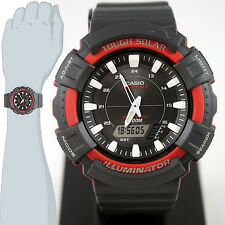 Casio AD-S800WH-4A Mens Red 200M WR Tough Solar Watch 5 ALARMS Chronograph New