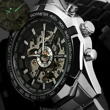 Winner Black Luminous Dial Men's Stainless Steel Automatic Mechanical WristWatch