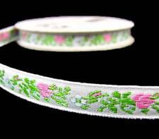 "4 Yds Tiny Pink Rose Roses Embroidered Woven Jacquard Ribbon Trim 3/8""W"