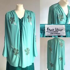 Vintage 1970s Frank Usher Green Beaded Evening Jacket Size 14 16 18 Glamour