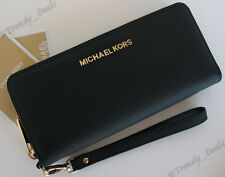 Michael Kors Jet Set Travel Large Wallet Wristlet Saffiano Leather Black/Gold