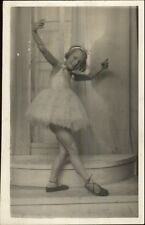 Little Girl Ballerina Dancing Real Photo Postcard