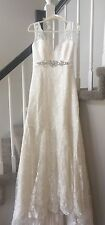 Wedding Gown Bridal Dress Ivory Lace Crystals Embroidered sz 8 Tall NWOT