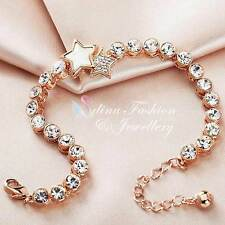 18K Rose Gold Filled Made With Swarovski Element Round Cut Twinkle Star Bracelet