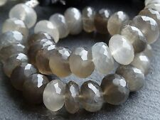 "HAND FACETED SHADED GREY MOONSTONE RONDELLES, 8.5mm - 9mm, 7.5"", 35 beads"
