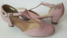 HOTTER RUMBA DUSKY PINK LEATHER T-BAR LADIES LOW HEEL SHOES SIZE UK 5 STD NEW