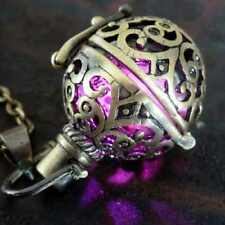 Steampunk Necklace Purple Fire Pendant Charm Locket Jewelry Wicca Victorian Goth