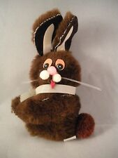 Vintage Plush Brown Bunny Rabbit Clip-on Hugger Huggy Easter Taiwan 1980s