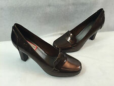 Impo Tally High Heel Penny Loafer Pumps Shoes Bronze Vegan Womens Size 7 M