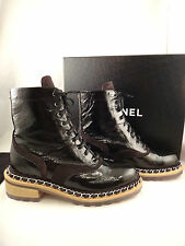 NIB Chanel 15A Black Chain Patent Leather Lace Up Biker Combat Boots 38 $1650
