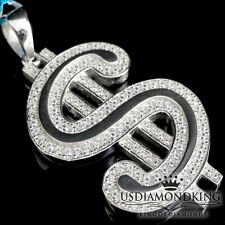 White Gold Finish Over 925 Sterling Silver Dollar Sign Charm Pendant Necklace
