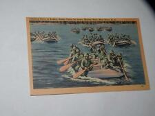 VINTAGE POSTCARD LANDING PARTY IN RUBBER BOATS CAMP LE JEUNE MARINE BASE  NC