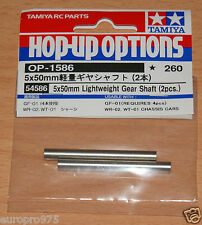 Tamiya 54586 5x50mm Lightweight Gear Shafts (2 Pcs.) (GF-01/WR-02/WT-01), NIP