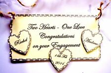 PERSONALISED Plaque Gift -Two Hearts One Love Congratulations On Your Engagement