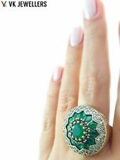 STERLING 925 SILVER SIZE 8 EMERALD HURREM RING TURKISH HANDMADE JEWELRY R1426