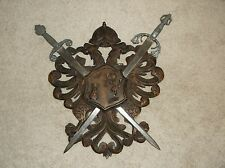 SPAIN Old Carved Wood Wooden Double Eagle Coat Of Arms WITH Swords Large Vintage