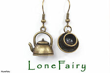 Bronze Tea cup and Kettle Metal Earrings Steampunk Alice Food & Drink