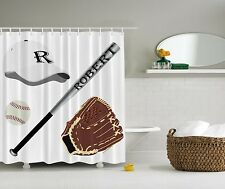 Kids Boys Baseball Sports Personalized Name Fabric Shower Curtain Bathroom