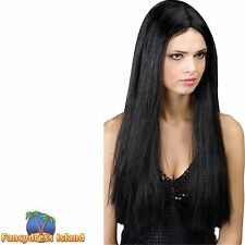 GIRLY GLAMOUR CLASSIC LONG BLACK WITCH WIG Ladies Womens Fancy Dress Costume