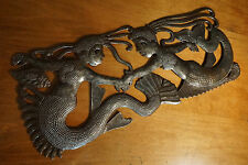 LARGE MERMAID TWIN SISTERS Hand-Crafted Metal Wall Sculpture Beach Home Decor