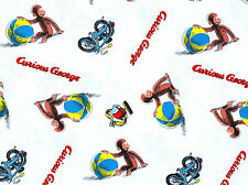 CURIOUS GEORGE PLAYING BALL 100% COTTON FABRIC UNIVERSAL STUDIOS MONKEY  YARDAGE