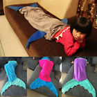 Handmake Mermaid Fish Tail Fleece Blanket Bed snuggle-in Kids Adult Sleeping Bag