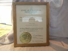 Vintage Signed California Appointment by Gov. Ronald Reagan 1969 Framed