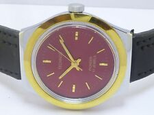 GENUINE VINTAGE GENTS MEN TECHNOS 17 JEWELS WINDING GOLD PLATED WRIST WATCH