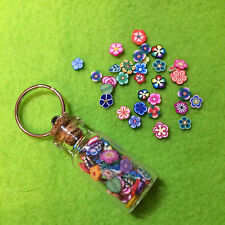 Miniature Kawaii Polymer Clay Tiny Flowers Glass Bottle Keyring Cute, Funky Gift