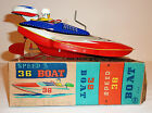 MARUSAN Japanese Tin Litho Wind-up 1950s SPEED BOAT RACER #36 with BOX ~ 9.75-in