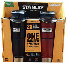 2 x Stanley Stainless Steel Flask Classic Vacuum One Hand Operation Red /  Blue