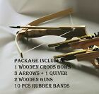 """8.5"""" HANDCRAFTED COWBOY WOODEN PISTOL RUBBER BAND SHOOTING TOY GUN CROSS BOW SET"""