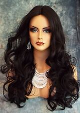 LONG CURLEY WIG HEAT SAFE LACE MIDDLE PART☆ CLR 1B GORGEOUS STRIKING STYLE 378