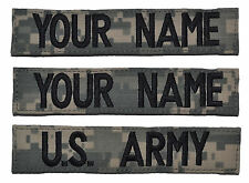 3 Piece ACU Name Tape Set with Hook and Fastener Backing - U.S. Army Military
