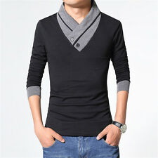 Fashion Men's Long Sleeve V-Neck Tee Shirt Tops Solid Slim Fit Casual T-Shirts