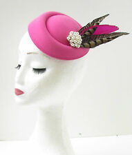 Hot Pink Brown White Pheasant Pillbox Fascinator Hat Races Vintage Hair Clip 9AH