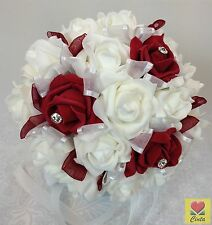 Artificial flower white/burgundy diamante foam roses wedding bouquet.