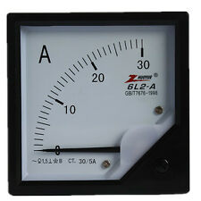 1Pcs 6L2 Type 80mm x 80mm Square Panel AC 30A Analog AMP Meter Ammeter Pointer