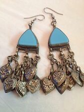 Vintage Long Gypsy Belly Dancer Middle Eastern Earrings Turquoise Stones