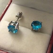 U01. Plum UK 7mm round aquamarine, 24k silver WHITE GOLD gf stud earrings BOXED