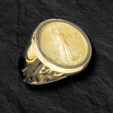 22K FINE GOLD 1/4 OZ LADY LIBERTY COIN in 14k gold  Ring