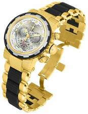 Invicta Mens Reserve CAPSULE Silver Dial Swiss Made Chronograph Gold Watch NEW