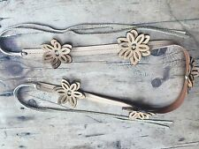 "VINTAGE flower power BO HO REAL LEATHER BELT 31"" max + 18"" fringes"