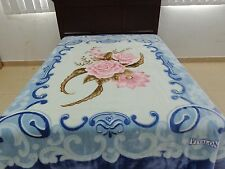 solaron Korean Blanket throw Thick Mink Plush queen size blue Roses Licensed new