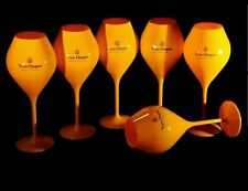 Champagne Veuve Clicquot Ponsardin Orange Acrylic Tasting Glass Goblets x 6 NEW